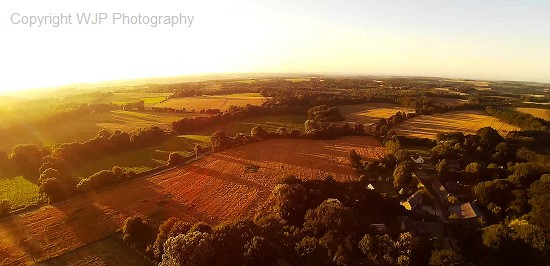 Brittany,  France,  Countryside,  Evening,  Fields,  Sunset,  Crops,  Arial View,  Above,  location,  sky,  landscape